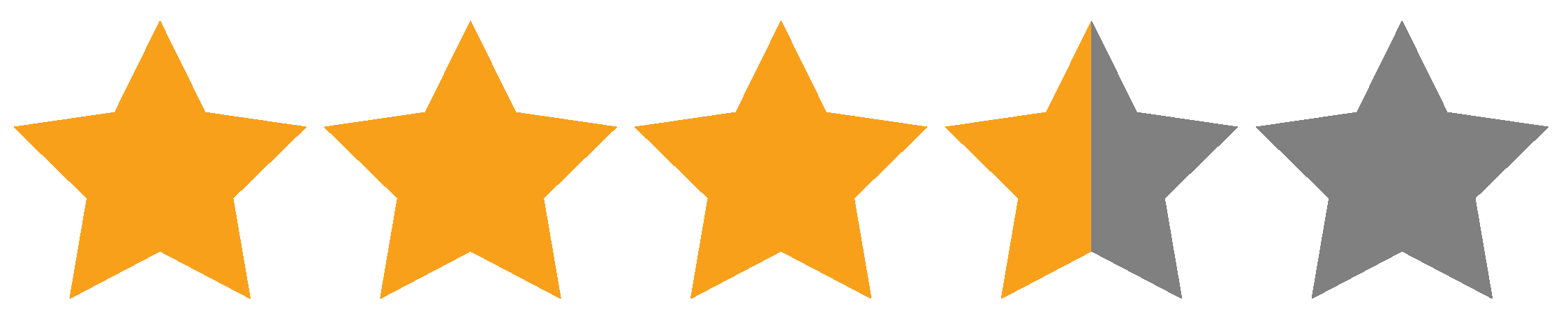 Star rating which shows 3.5 stars out of 5