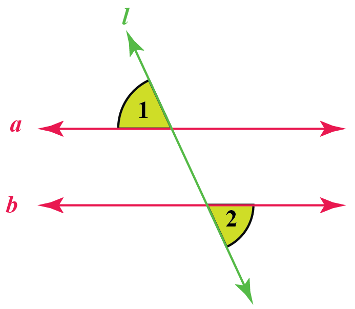 alternate exterior angles pairs - two parallel lines and a transversal