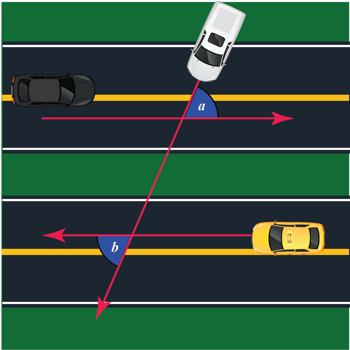 alternate angles example1 - two parallel roads and another road cutting them