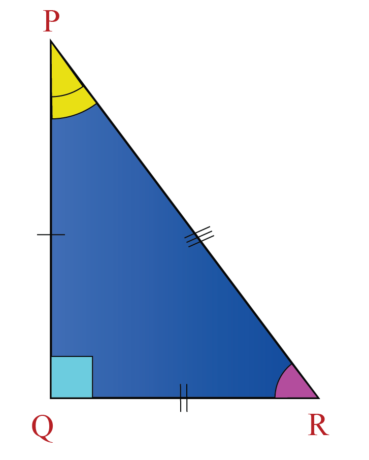 A scalene right triangle PQR