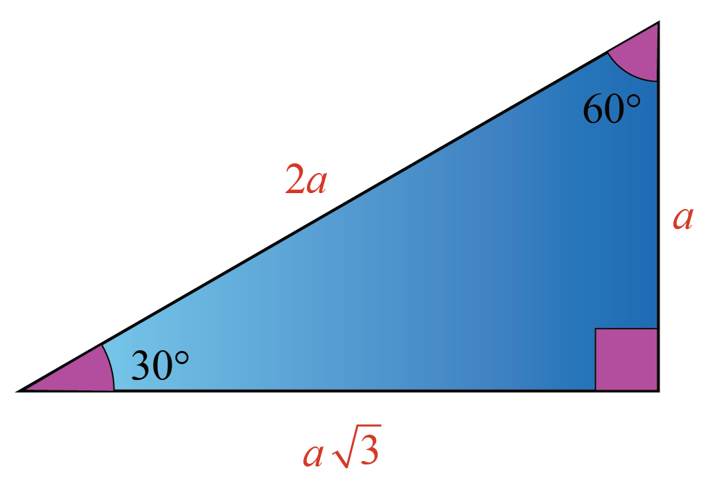 Special right triangle where the angles are 30-60-90 degrees