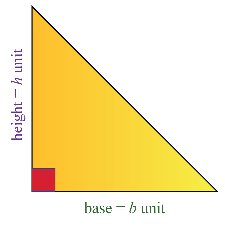 Right triangle formula: Area of a right triangle with height h and base b