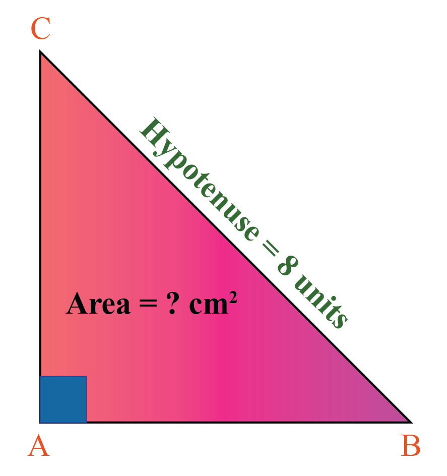 A right isosceles triangle where hypotenuse is 8 units.