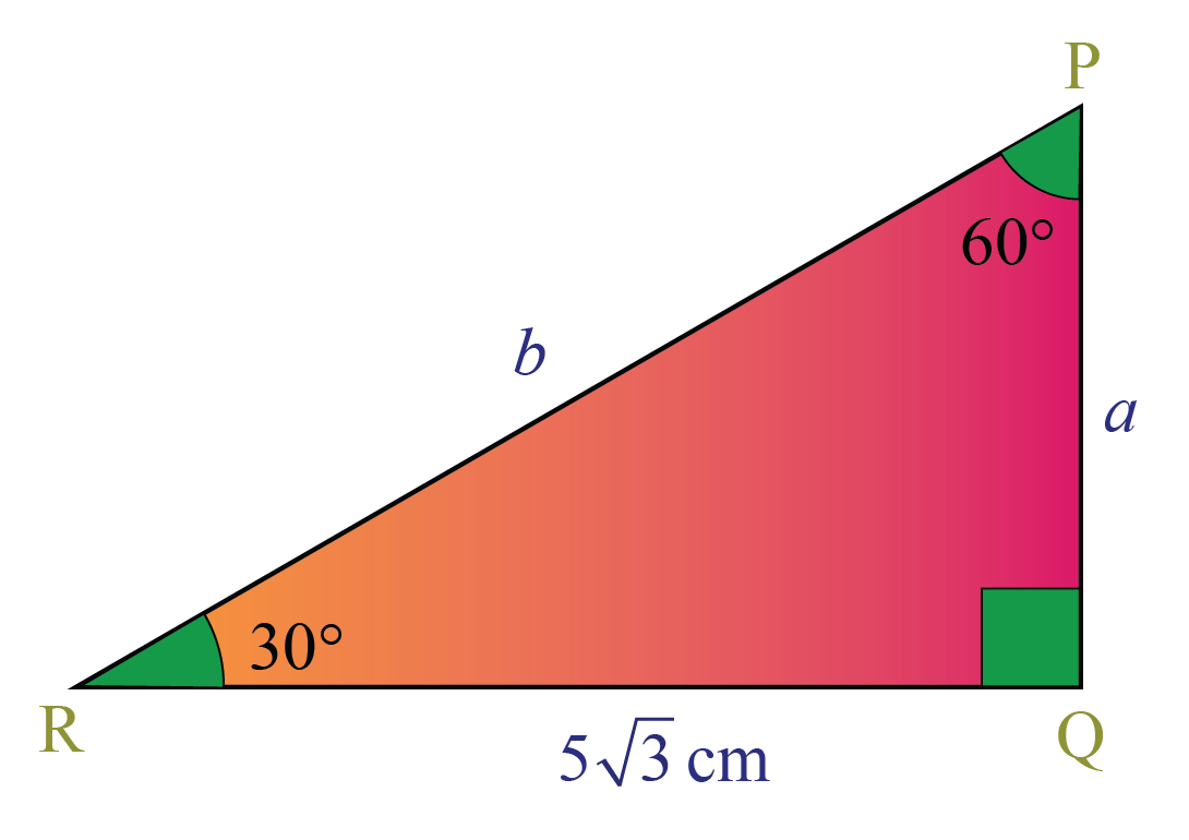 A 30-60-90 triangle with base measure is given. Find the measure of the other legs.