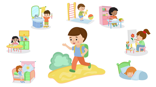 Daily routine performed by kids