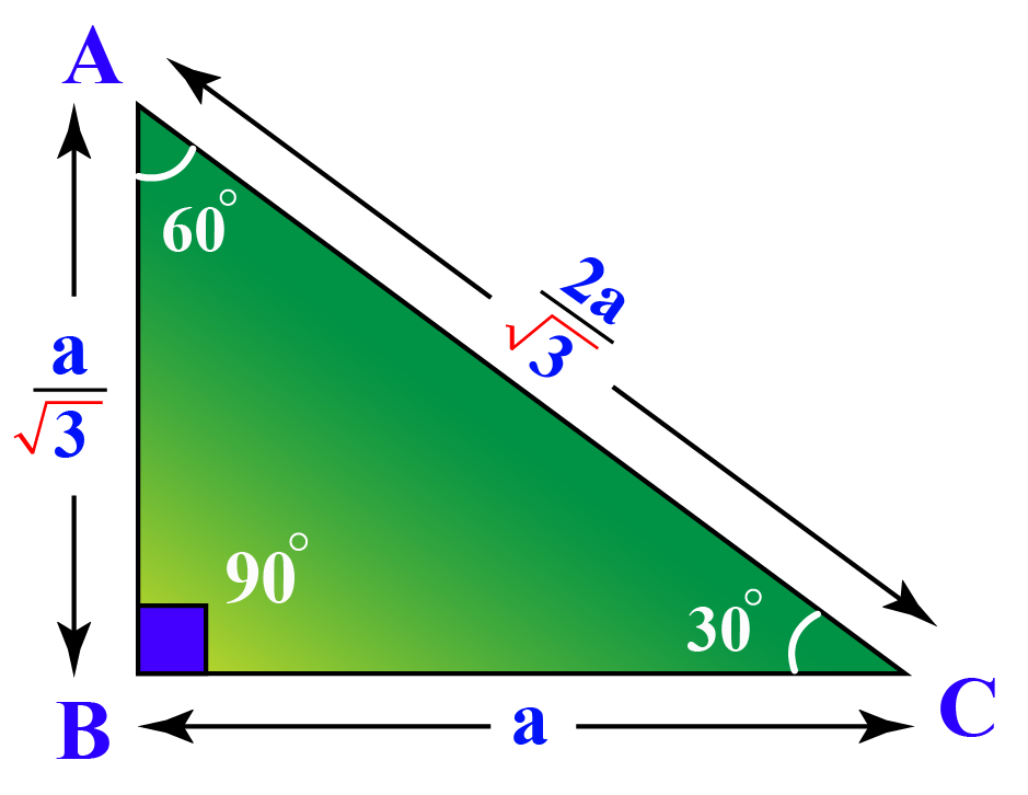 sides of a 30 60 90 triangle