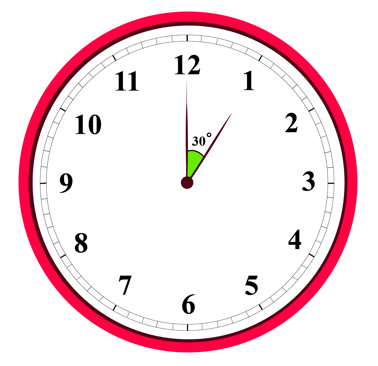 30-degree angle on a clock