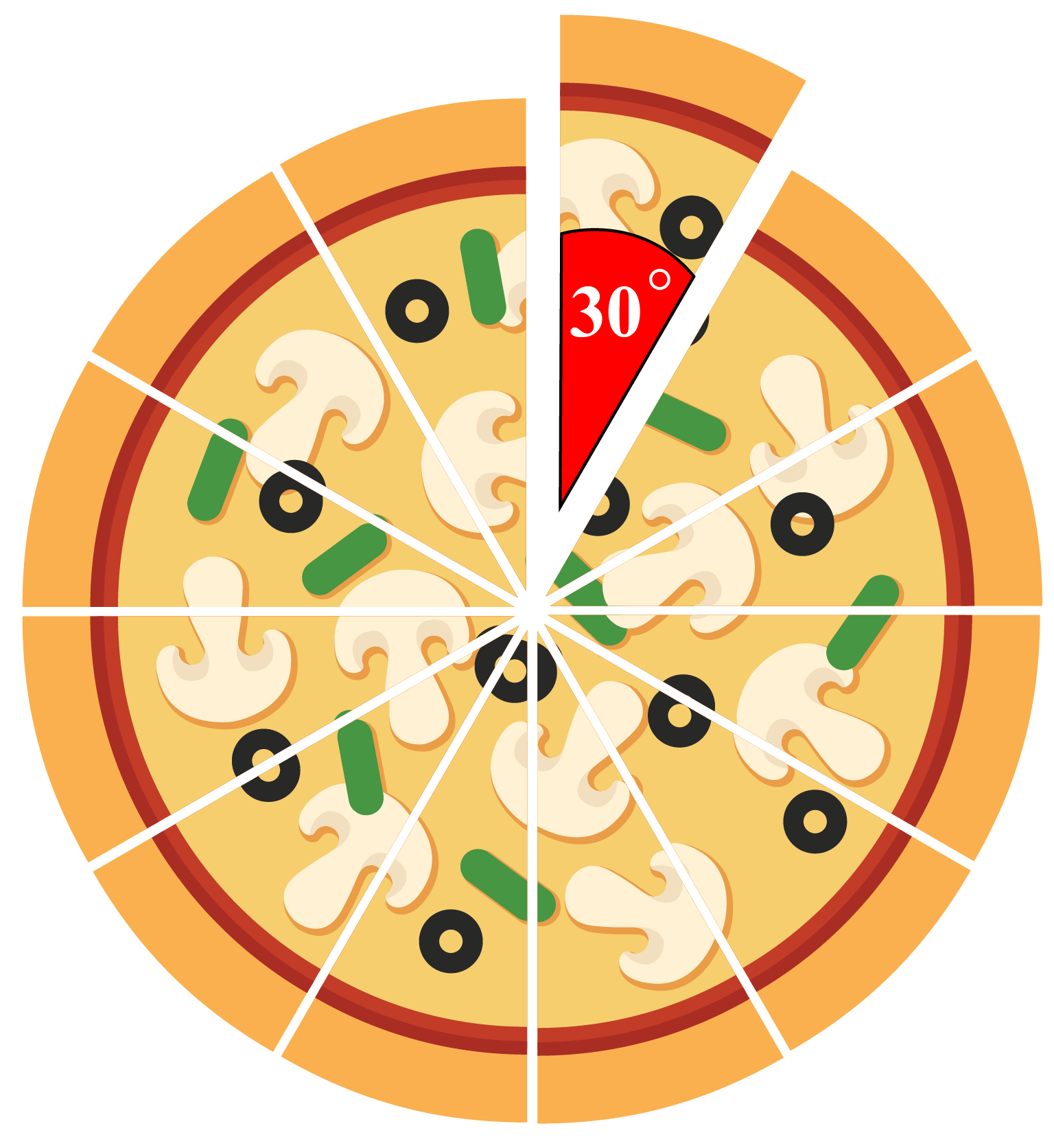 30-degree angle on a pizza slice