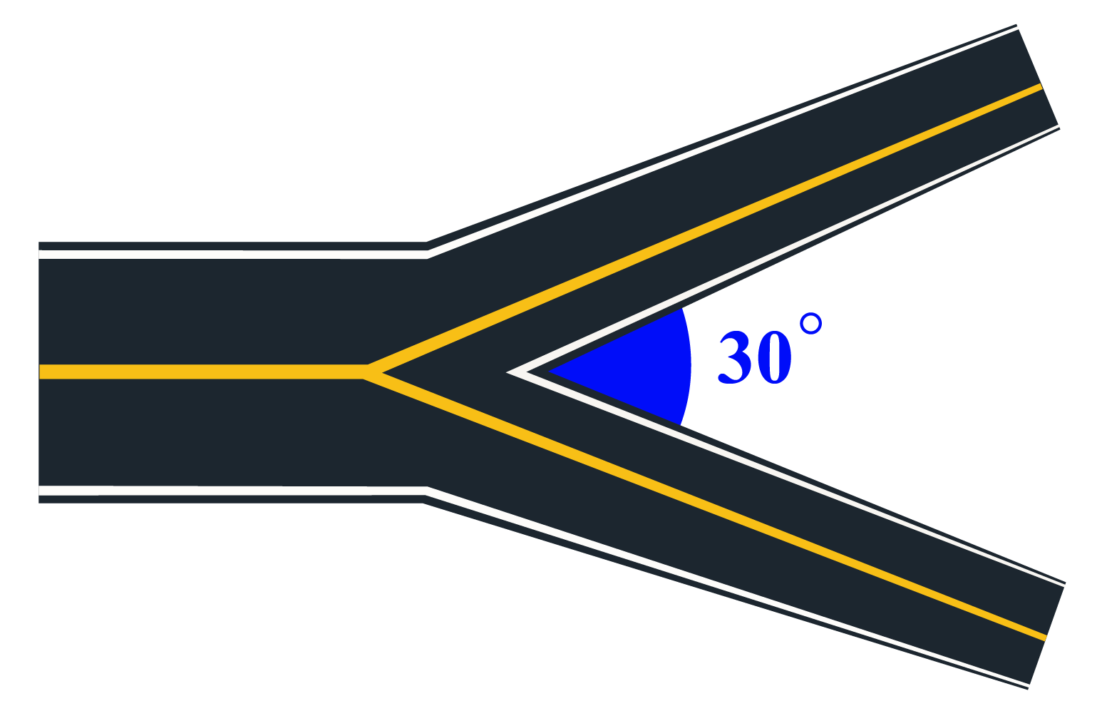 30-degree angle on road