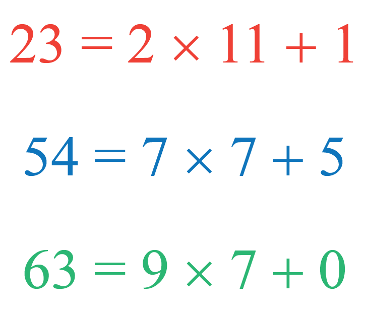 Euclid division lemma examples for 23, 54, and 63
