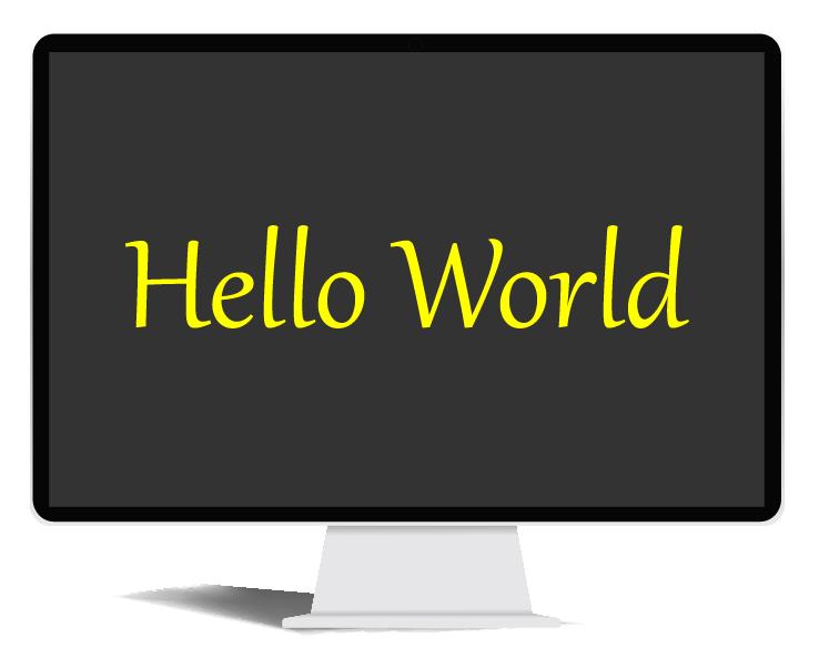 Hello world on a computer screen