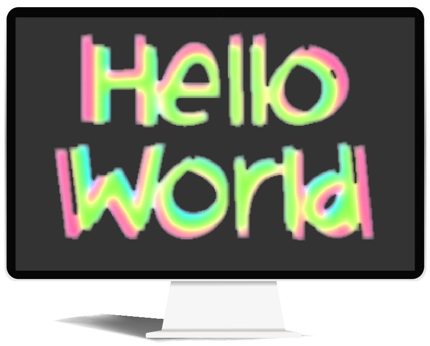 Hello world written on a computer screen