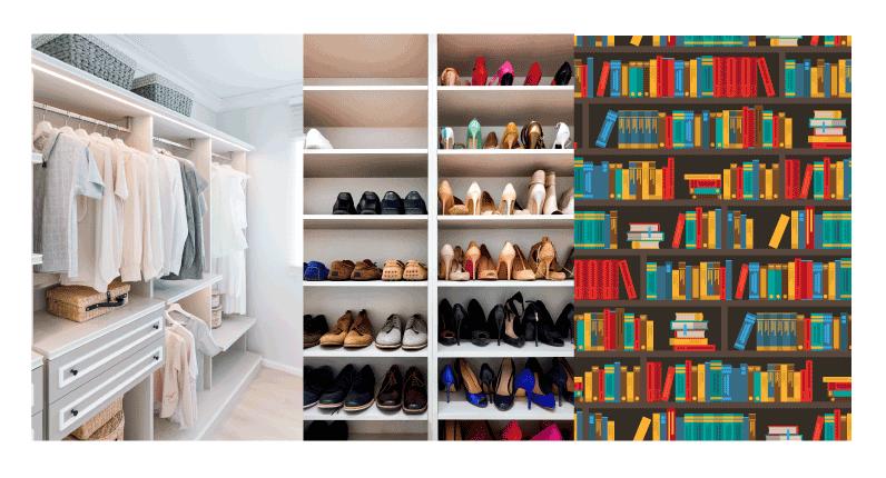 clothes arrange in a closet
