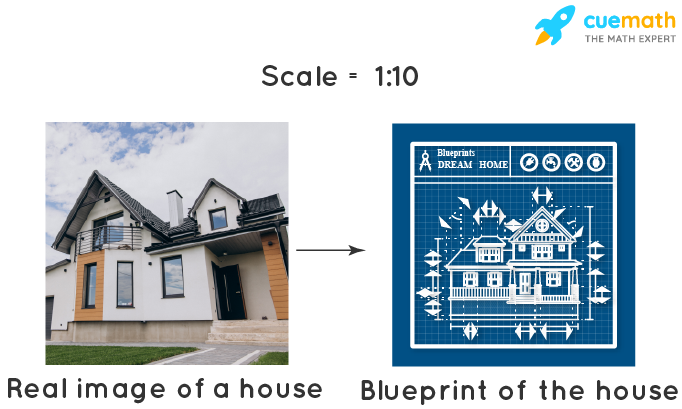 scale drawing of house on blueprint
