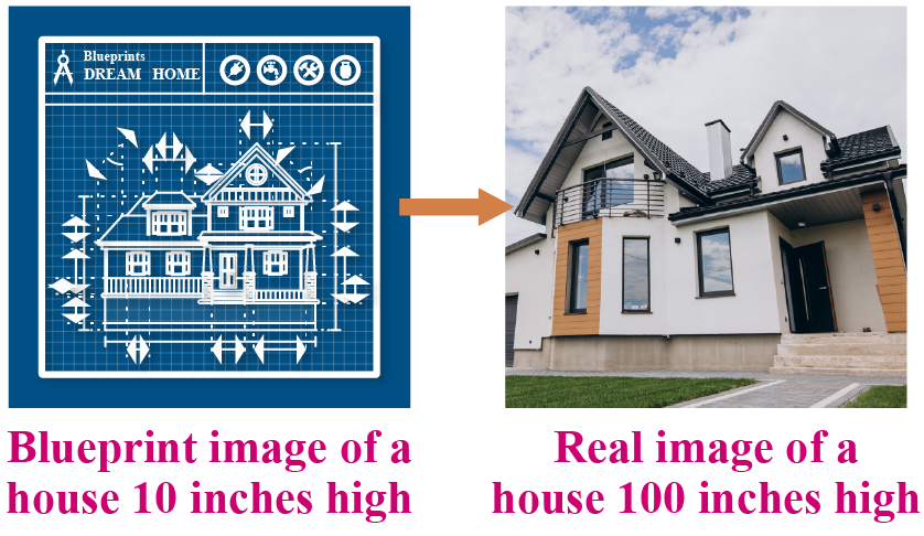 Real and blueprit image of a house.