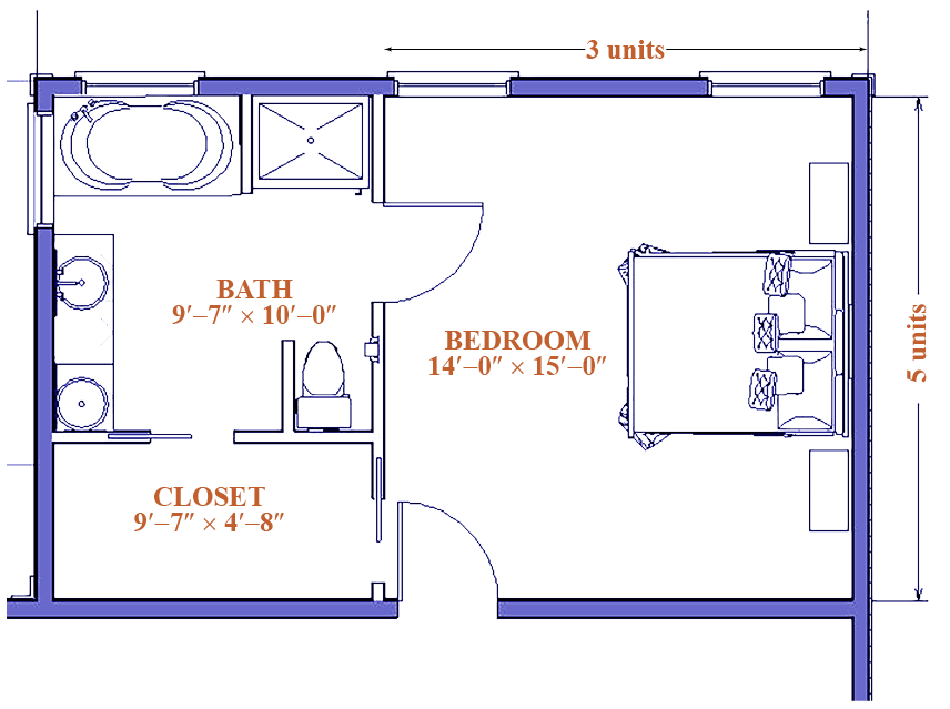 blue print image of a master bedroom