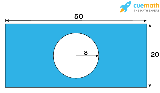 area of shaded region, circle inside a rectangle