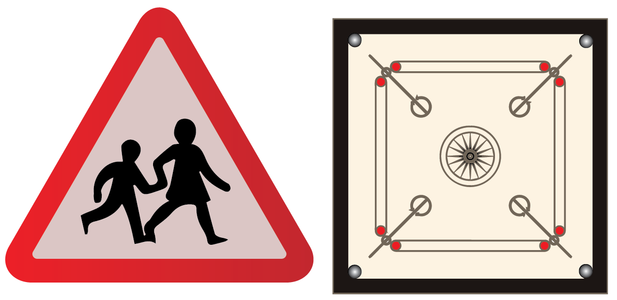 Real-life examples of regular polygon - carrom board and stop sign