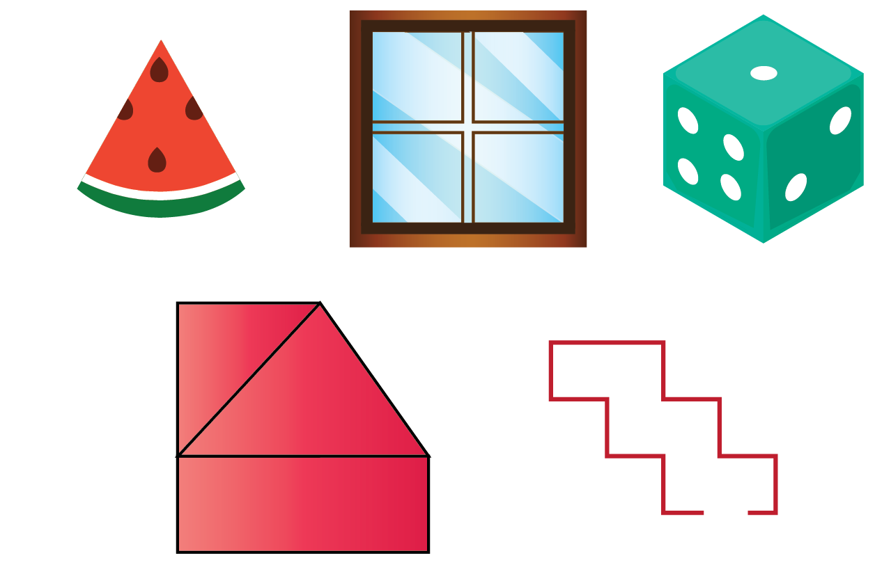 Shapes - window, slice of watermelon, dice, closed figure, open figure