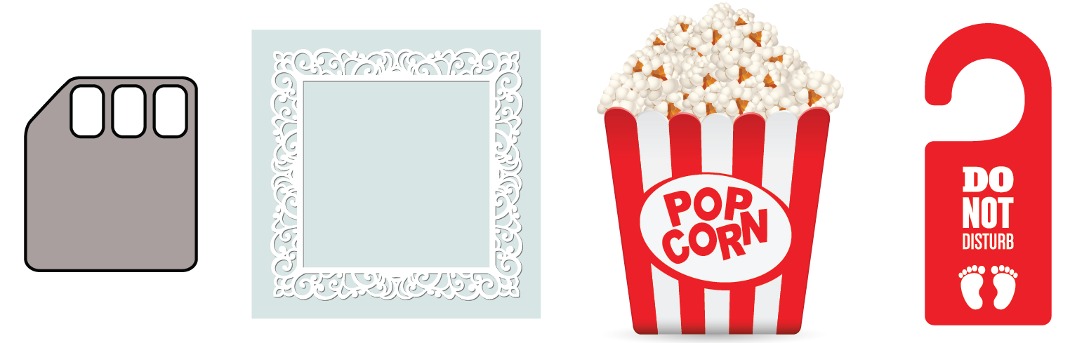 Polygons - floppy disc, frame, popcorn container, do not disturb tag