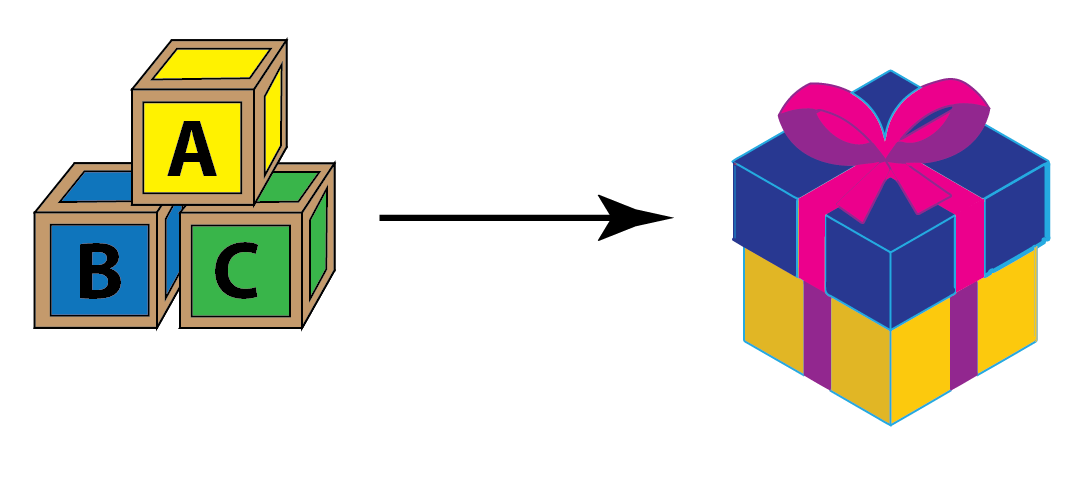 Building blocks fit in the cube shaped box