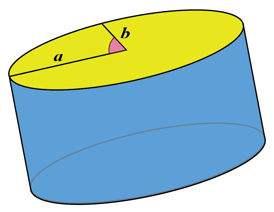 Elliptic cylinder with dimensions