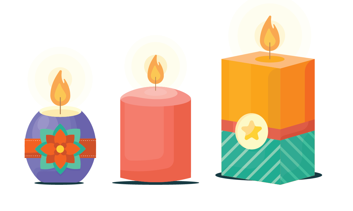 different shapes of candles