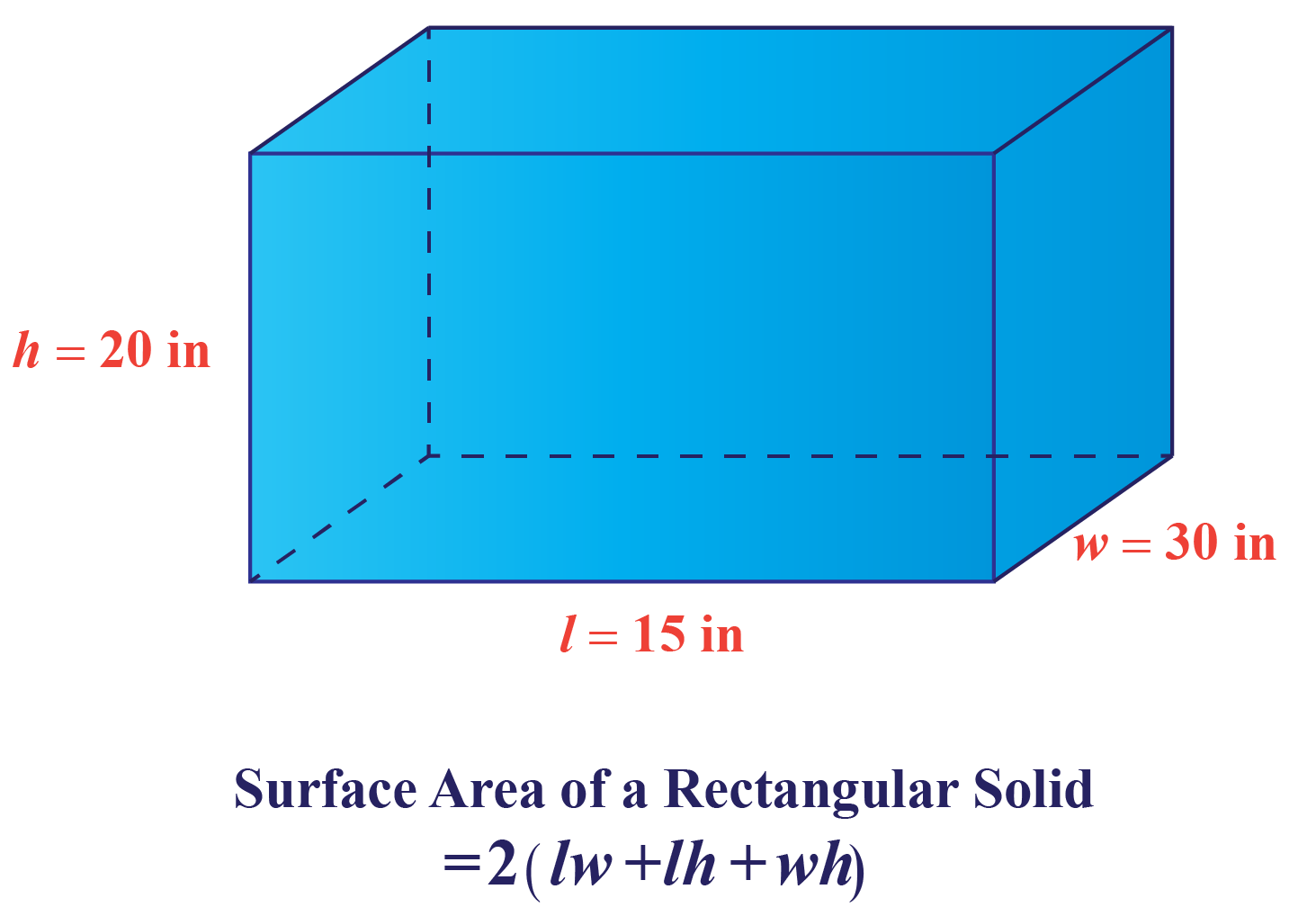 a rectangular prism having \(30\) inch width, \(15\) inch length and \(20\) inch height.