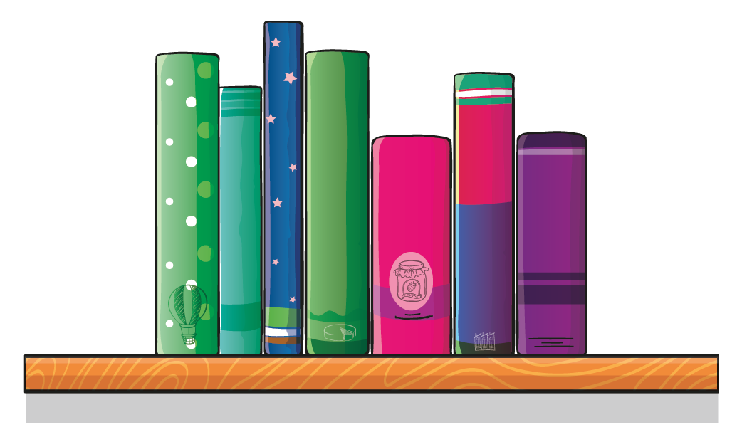 a bookshelf having \(7\) books