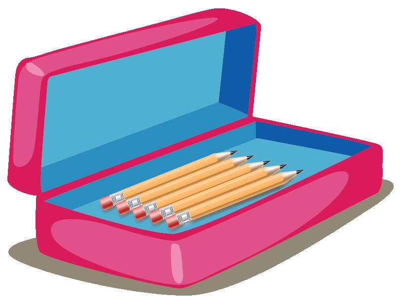 image of a pencil box having 5 pencils