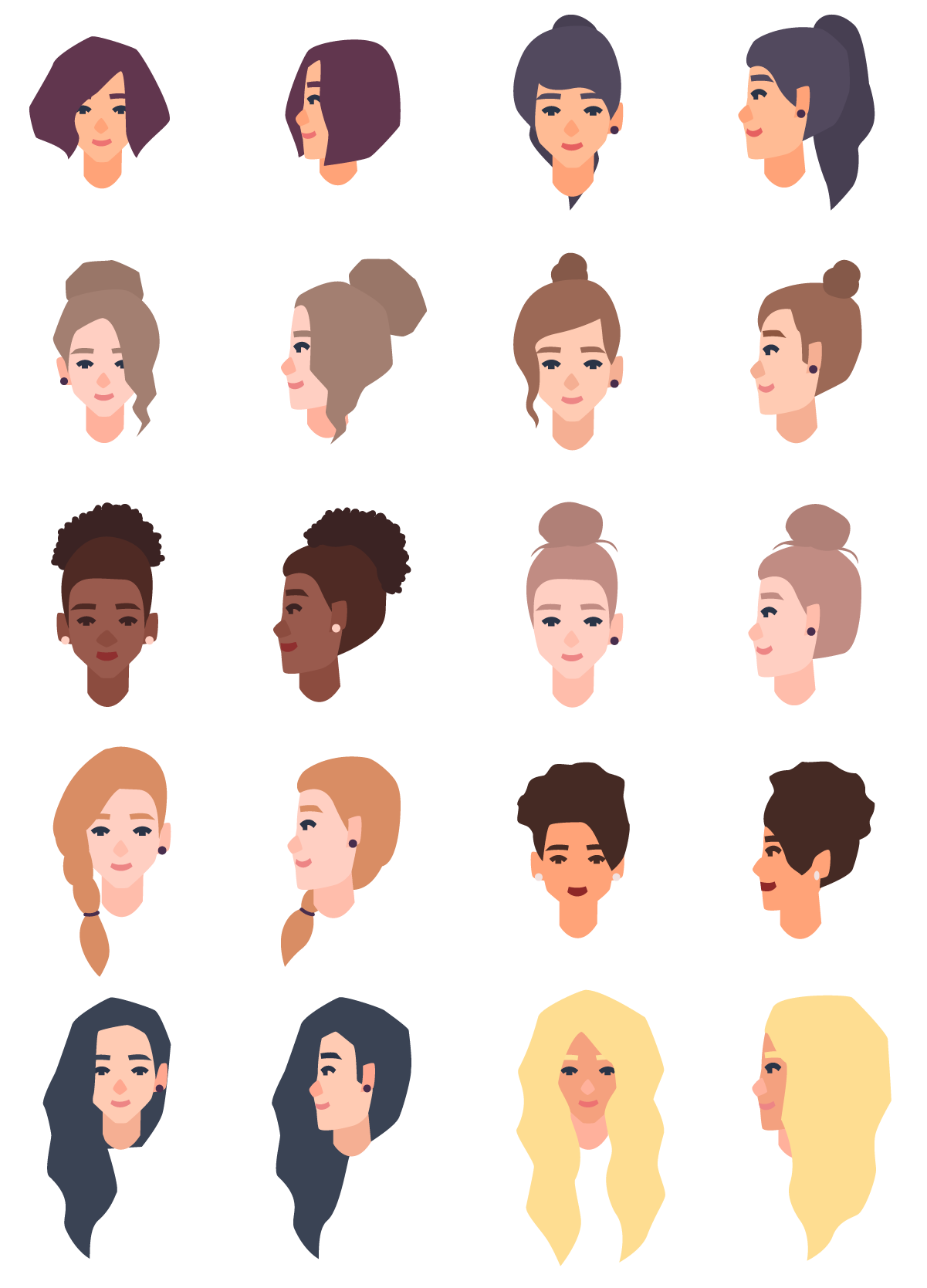 Set of different girl s hair styles and colors black, blue, blonde, red, brown Premium Vector