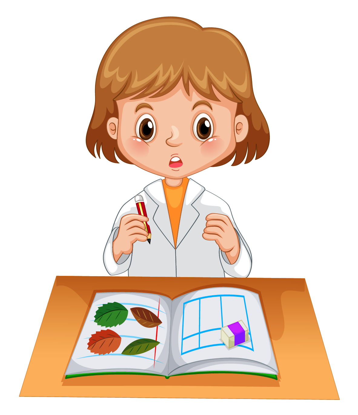 Girl in lab gown recording experiment data in notebook Free Vector