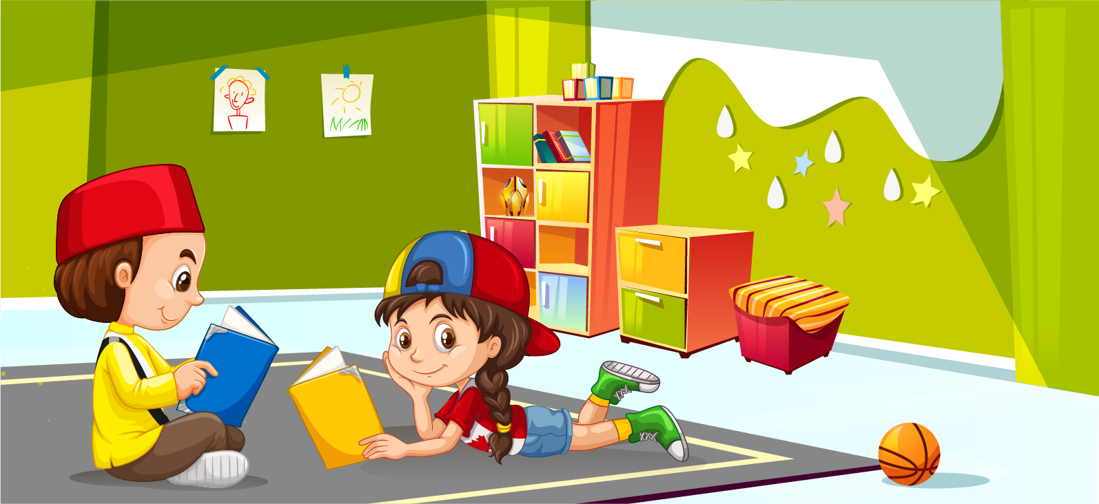 Children playing in playroom Premium Vector