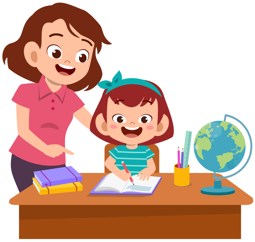 Parent help teach kid Premium Vector