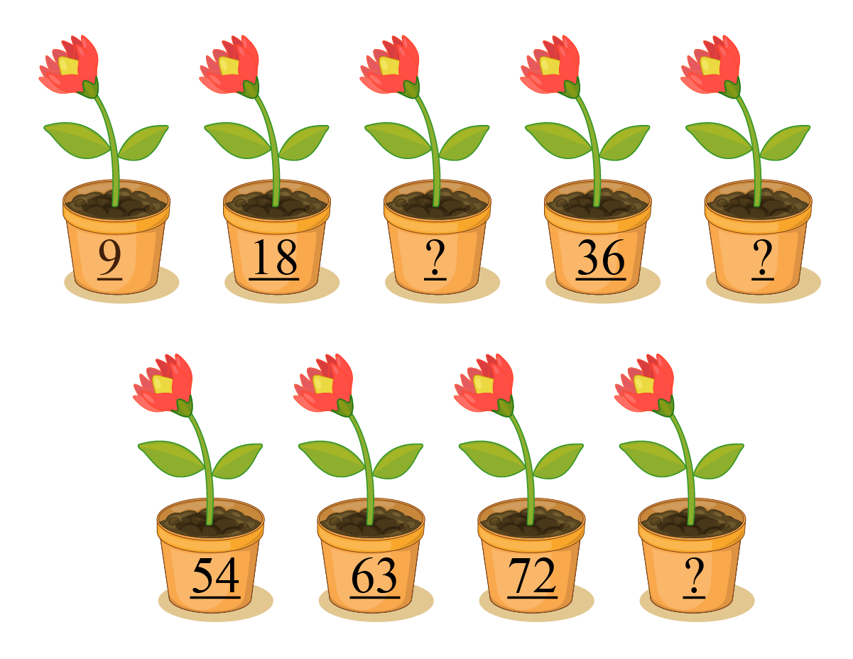 Pots arranged in multiples of 9