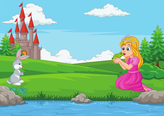 Princess kissing the frog