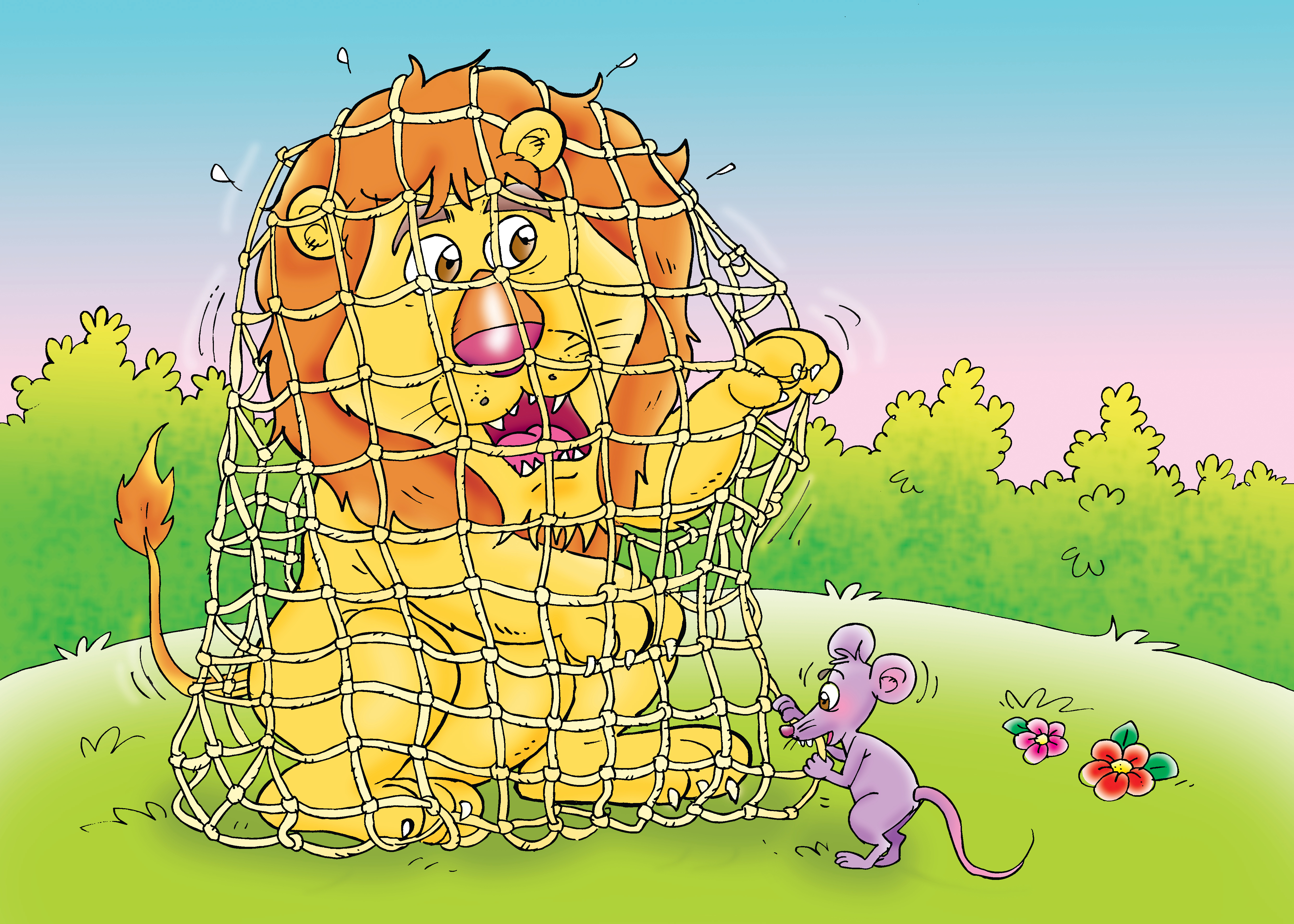 The mouse setting the lion free from the trap
