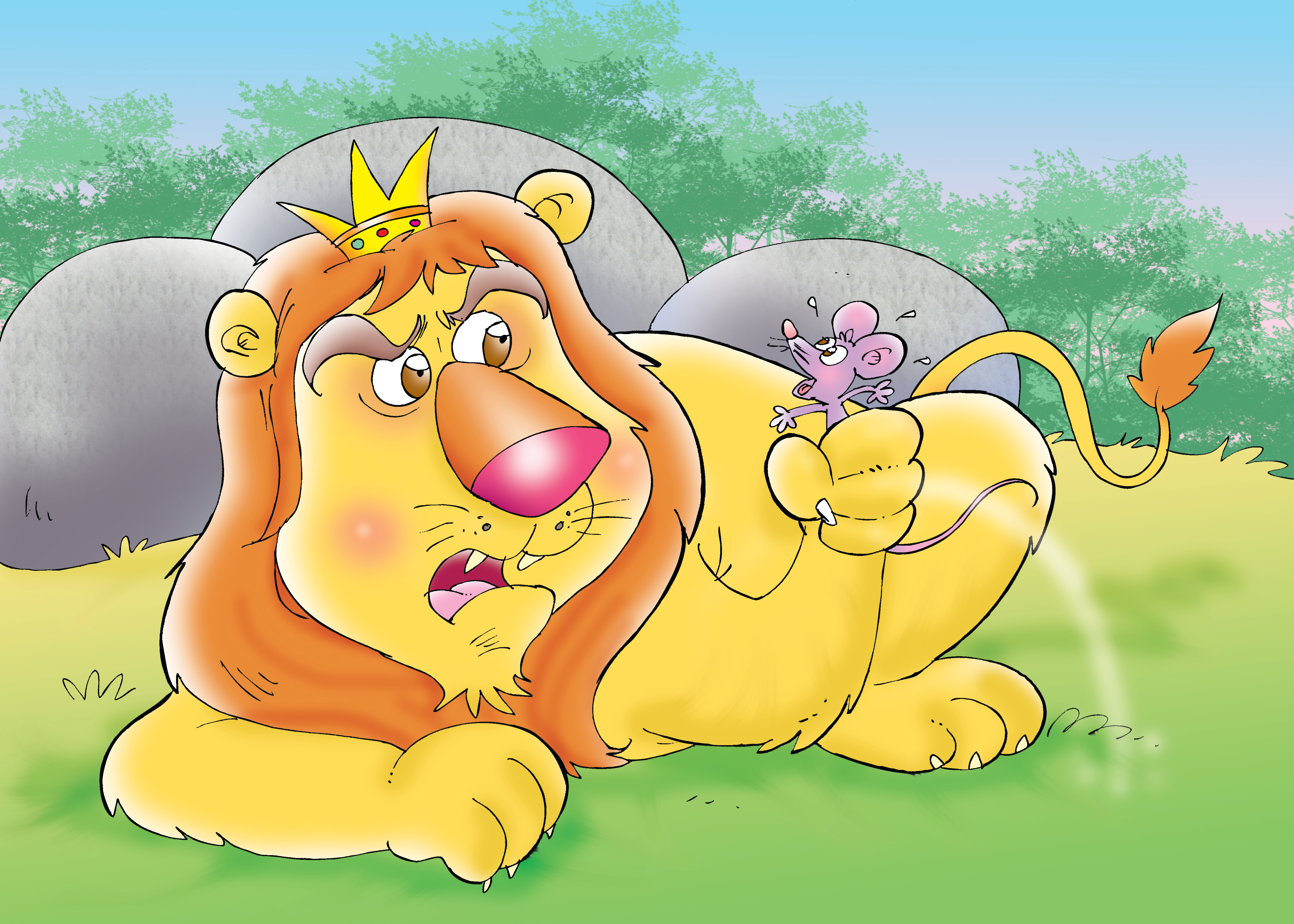 The Lion grabbing the mouse