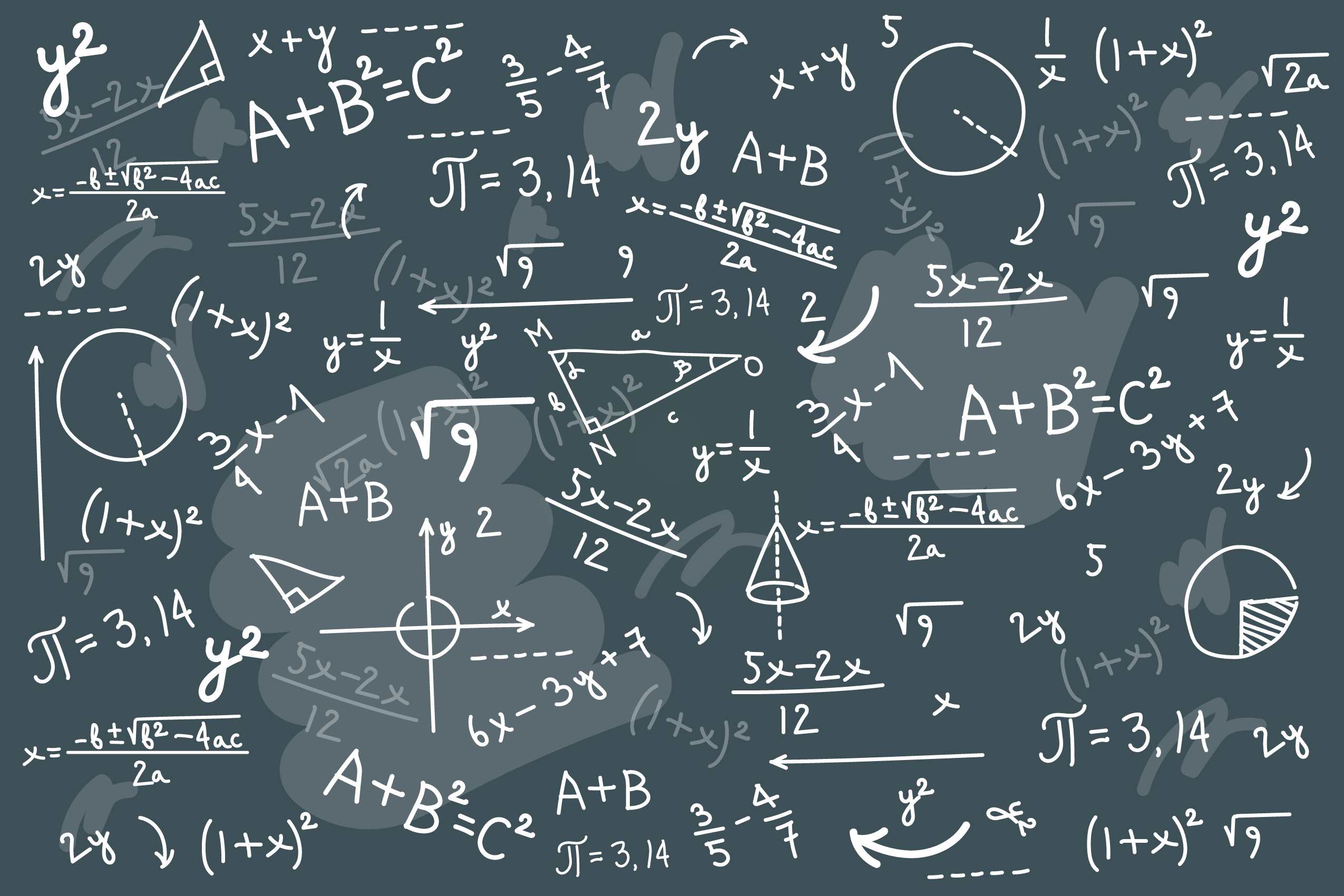 Physics solving equation blackboard. Sketch with geometrical class problem solution or algebra formula. Higher mathematics Intelligence or complex calculation mess