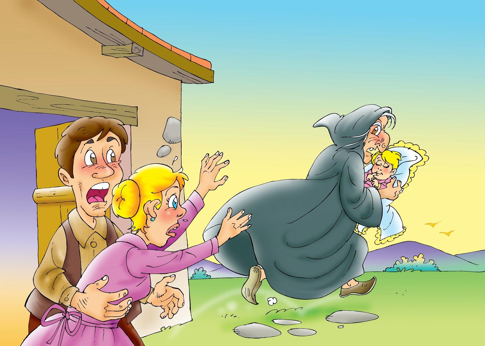 A women running away with a kid