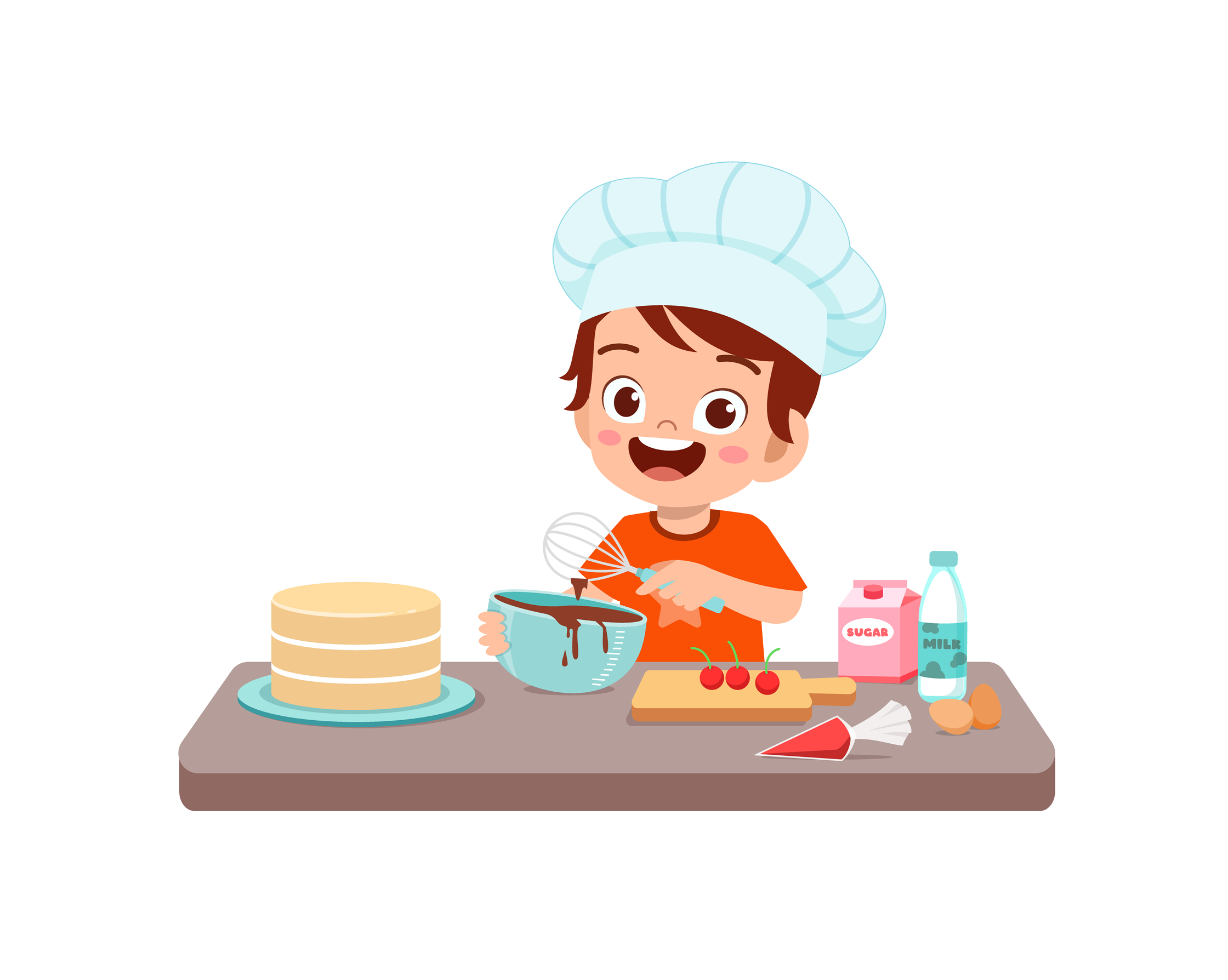 happy cute little kid boy and girl wear chef uniform and cooking a birthday cake
