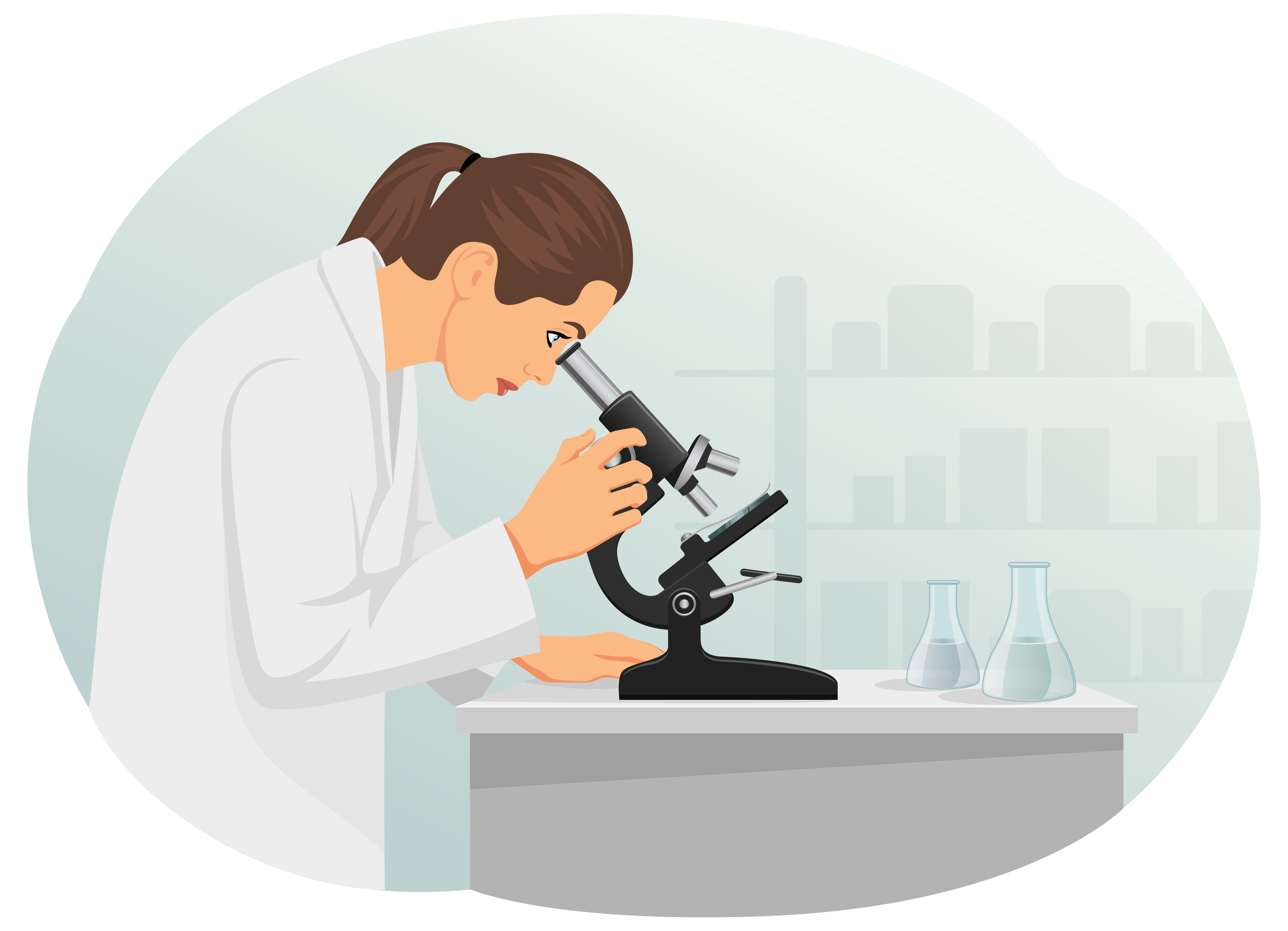 Woman scientist is looking through a microscope. Laboratory and equipment.
