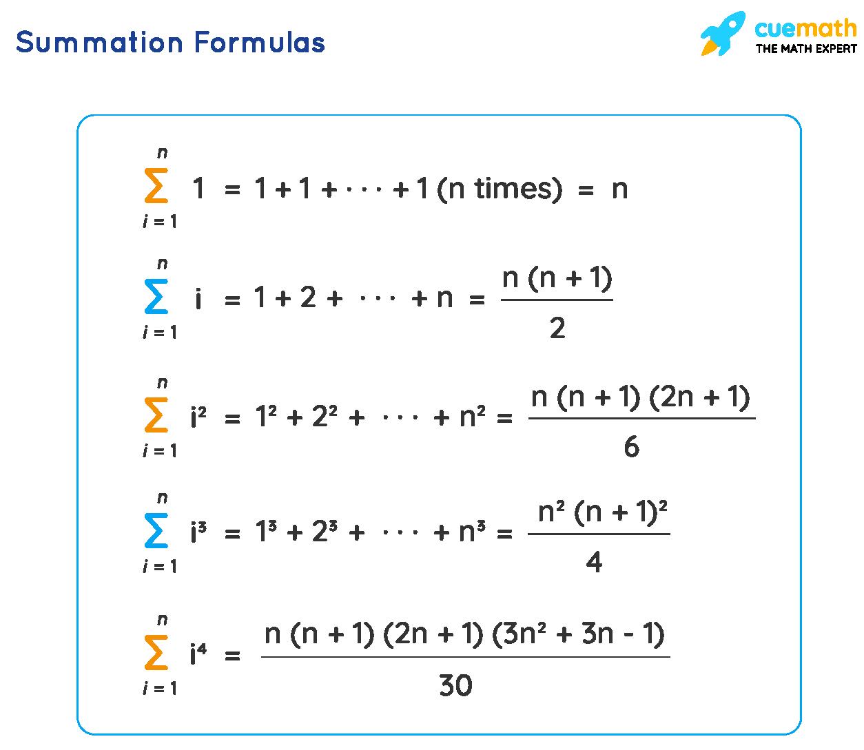 Summation Formulas