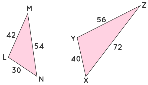 Similarity in triangles LMN and XYZ