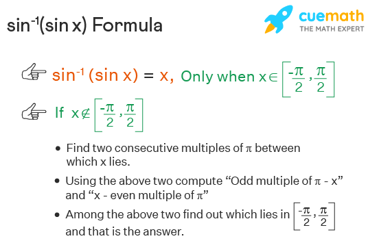 """sin-1(sin x) formula is shown. Sin inverse sin of x is x only when x lies in the interval [minus pi over 2, pi over 2]. If not, we will find two consecutve multiples of pi. Find """"odd multiple of π - x"""" and """"x - even multiple of π"""". Whichever lies between the above interval is your answer."""