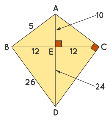 Properties of a Kite Solved Example 2