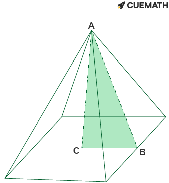 Square-based pyramid with base 6cm