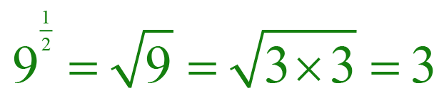 Exponent form and square root form of 9