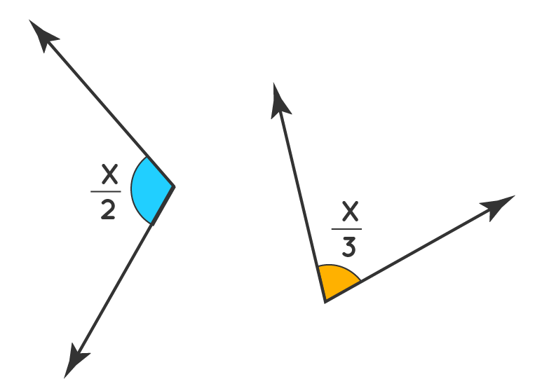 Non-adjacent supplementary angles where one is x over 2 and the other is x over 3