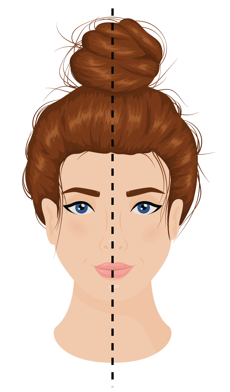 Examples of Symmetry - A woman's face is shown as an example for reflection symmetry.